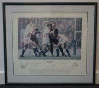 'Honours Even' limited edition rugby print signed by Lawrence Dallaglio of Eng-All Blacks draw 1997