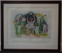 Limited edition signed and framed colour cricket print 'Wind Swept' Eng-WI 2000 series