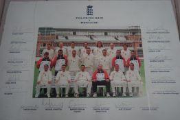 England 2001 cricket squad v Pakistan unframed
