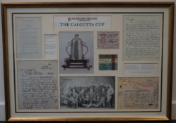 Calcutta Cup historical montage from Museum of Rugby, framed