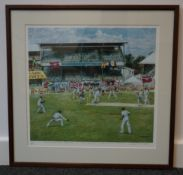 Limited edition colour cricket print by David Skinner Eng-WI Est series 1994