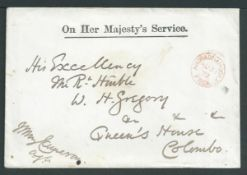 Ceylon 1872 Stampless O.H.M.S. cover to W. H. Gregory, the Governor of Ceylon at Queens House, Colom