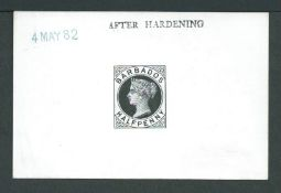 """Barbados 1882 1/2d Postcard stamp Die Proof on white glazed card stamped """"AFTER HARDENING"""" and dated"""