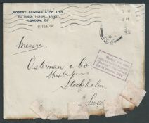 Crash & Wreck 1916 Cover from London to Sweden, the stamp missing and the edge burnt and repaired by