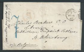 Accountancy Marks 1861-66 Letter posted from St. Petersburg to London in 1861, turned and posted bac