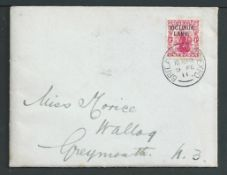 "Antarctica 1911 Cover (minor staining) with ""BRITISH ANTARCTIC EXPEDITION / TERRA NOVA R.Y.S."" print"