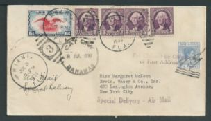 """Bahamas 1939 Cover from Cat Cay to New York franked King George VI 2.1/2d cancelled by the """"Marlin H"""