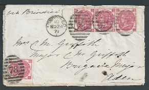 Aden / G.B. - Surface Printed 1871 Cover (minor edge faults) from London to Aden franked 3d rose pla