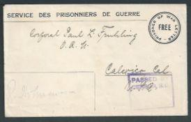 Australia c.1917 Prisoner of War Letter Free postal stationery cover sent from Trial Bay, unusually