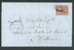 Canada 1858 Entire to St. Catherines U.C., bearing 1852-57 3d deep red/brown (S.G. 6, 8) fine used w