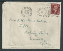 Crash Mail - Australia / G.B. / Iraq 1938 Cover from Glasgow to Sydney franked 1 1/2d, recovered fro