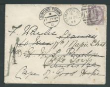 Cape of Good Hope / G.B. - Military & Naval 1894 Cover from Hampton Hill to a Seaman on H.M.S. Penel