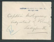 Boer War 1900 Stampless cover addressed to the Adjutant of Volunteers within besieged Ladysmith, can