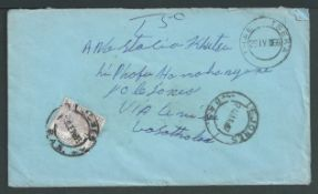 Basutoland 1966 Cover from Thaba Tseka to Lejones unfranked and charge 5 cent postage due SGD10 on a