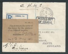 """Antigua 1913 Stampless O.H.M.S. cover from the G.P.O. to England with black """"OFFICIAL PAID / ANTIGUA"""