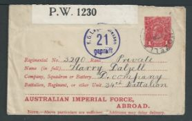 Australia 1918 1d Postal stationery envelope for use to A.I.F. Imperial Forces Abroad (H&G2), sent f