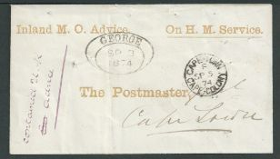"""Cape of Goo Hope 1874 Stampless cover with printed heading """"Inland M.O. Advice"""" and """"On H. M. Servic"""