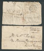 """Boer War - Siege of Ladysmith 1900 Two stampless covers both addressed in the same handwriting to """"G"""