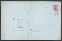 """Antarctic 1911 (Feb 9) Large cover (light vertical fold) with """"BRITISH ANTARCTIC EXPEDITION / TERRA"""