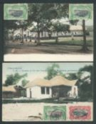 """Belgian Congo 1908 - 10 Group of four illustrated post cards (three in colour) with """"Mols"""" 5c and 10"""