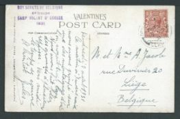 Boy Scouts 1931 Picture postcard to Belgium, written by a Belgium boy scout from Scotland with KGV 1