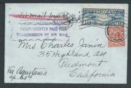 """Air Mail - G.B. / U.S.A. 1928 Cover to California superscribed """"Air Mail from New York"""" and """"Via Aqu"""