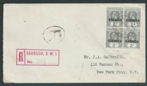 """Barbuda 1923 Registered Cover to New York franked 1922 2d block of four """"BARBUDA"""" overprints, with r"""