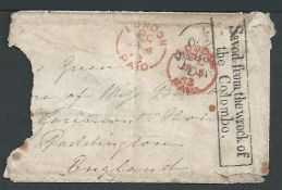 Crash & Wreck - New South Wales 1862 Small envelope addressed to London missing an adhesive, two sid