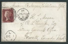 """Canada / G.B. - Miltary 1858 Cover (with enclosed letter) from London to Toronto, headed """"From Music"""
