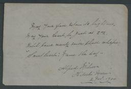 Boer War 1900 (Nov 2) Four line poem written and signed by Alfred Milner, High Commissioner for Sou