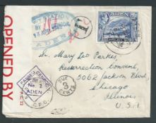 Aden 1942 Underpaid censored letter (flap missing) to Chicago, with 1939 21/2a tied by cds, large en