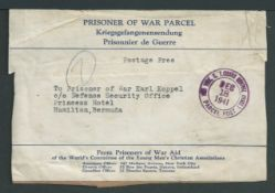 Bermuda 1941 Printed Prisoner of War Parcel label (minor faults) from the YMCA in New York City, add