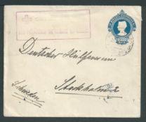 Brazil 1919 200r Postal stationery envelope from Rio de Janeiro to Sweden endorsed on the reverse fr