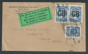 Air Mail - Scadta / G.B. 1927 Cover from Manchester to Bucaramanga, small tear at top but with the s