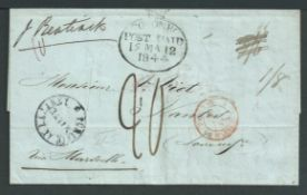 Ceylon / Forwarding Agents 1844 Entire letter from Port Louis, Mauritius, to France sent by forwardi