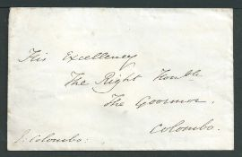 Ceylon 1849 Cover signed by the Bishop of Colombo sent to the Governor of Ceylon in Colombo, backst