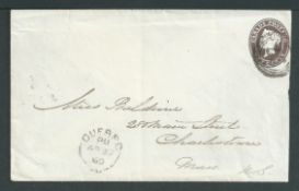 Canada 1860 Queen Victoria 10c brown Nesbitt Postal Stationery Envelope, fractionally reduced on ope