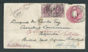 Cape of Good Hope / Transvaal 1912 (July 31) Transvaal 1d Postal stationery envelope uprated with a