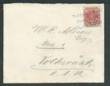 """Boer War 1900 Cover to Volksrust franked Transvaal 1d tied good strike """"Veldpost, Z A R / NewCastle."""