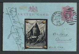 Boer War 1903 1d Lettercard from the autograph collector Reginald Bray, posted from London to Genera