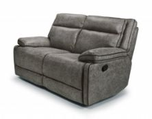 Brand new boxed Cheltenham electric reclining 2 seater sofa in dark grey leather