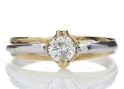 18ct Two Tone Single Stone Rub Over Set Diamond Ring 0.35 Carats
