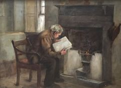 Reading by the Fire by Scottish artist Henry John Dobson RSW (1858-1928) Exhibited RSA and RA