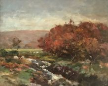 Sheep in Autumn Landscape oil painting by Scottish artist David Fulton,1848-1930 Ex R.S.A, R.S.W