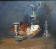 Bread and Pewter oil painting by Helen M Turner bn 1937 PPAI, GSWA Exh R.G.I