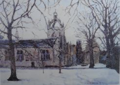 Wintertime Kings College Aberdeen limited ed print by Scottish artist Nigel Grounds, bn 1962