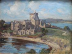 Inchcolm Abbey oil by Scottish artist Agnes M Cowieson (1880-1940) Exh RSA RA RSW GI AAS