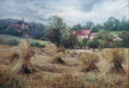 Hay stooks - Original Oil painting by Olive Watson exhib R.A