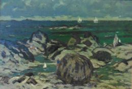 Black Rock, Iona, oil painting by John Miller 1893-1975, Exhibited, P.R.S.W, R.S.A