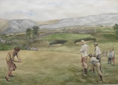 Original signed watercolour by V Greene British artist, Golf interest 10th hole at Gleneagles